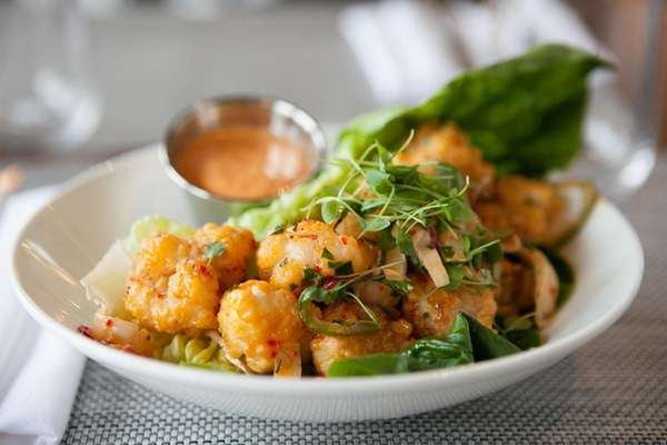 Crispy rock shrimp is one of the starters