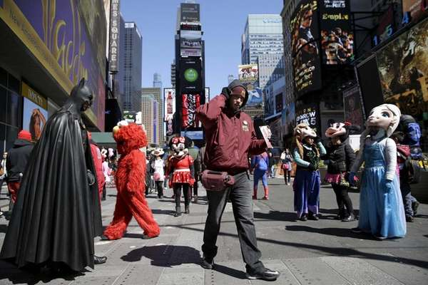 Costumed character Abdel Amine Elkhezzani, 37, of Astoria,