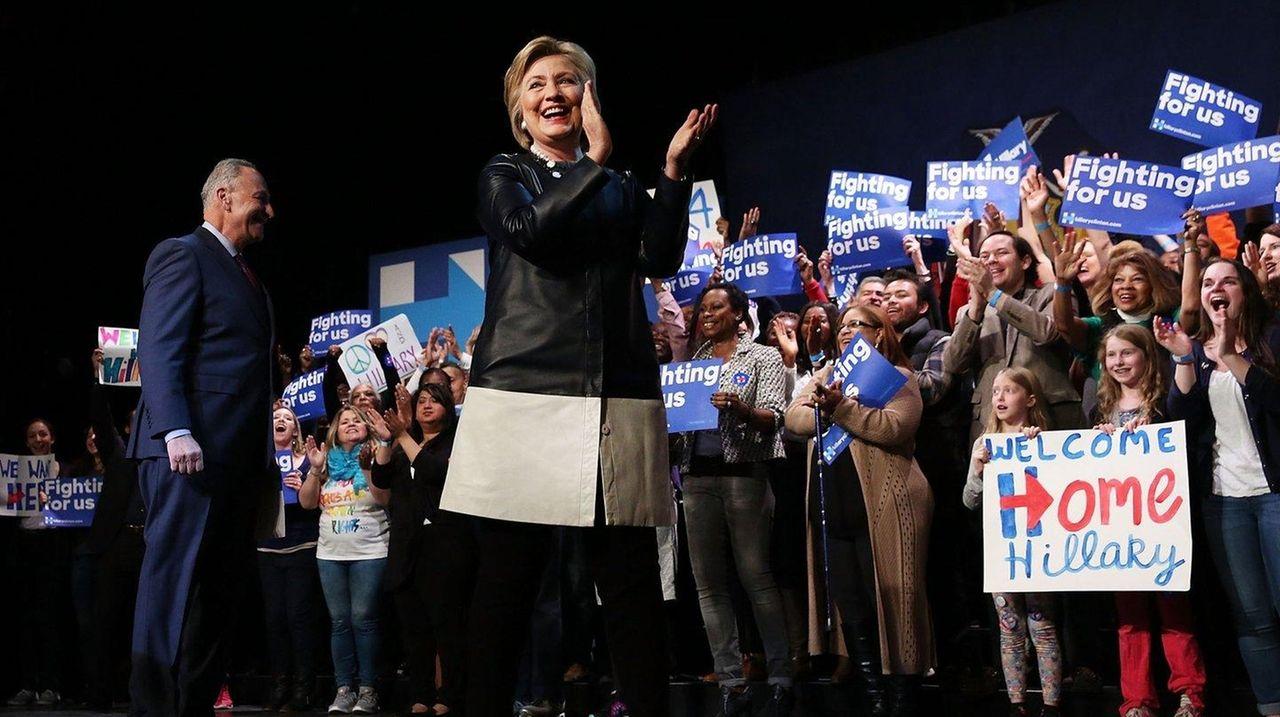 Democratic presidential candidate Hillary Clinton walks onto