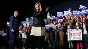 Democratic presidential candidate Hillary Clinton walks onto