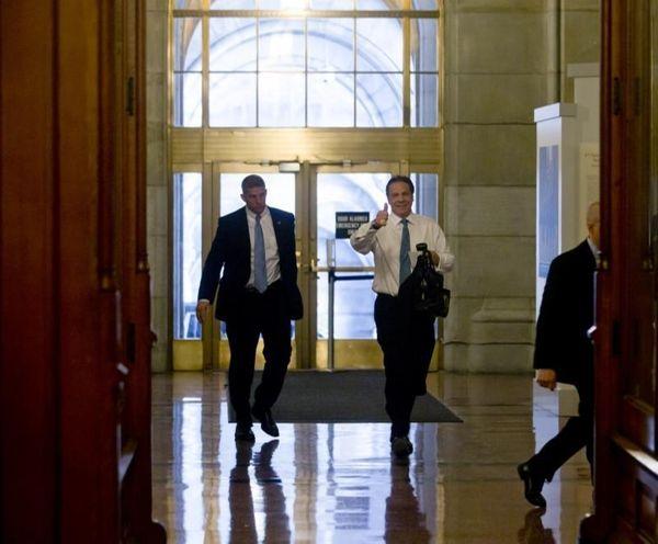 New York Gov. Andrew M. Cuomo arrives at