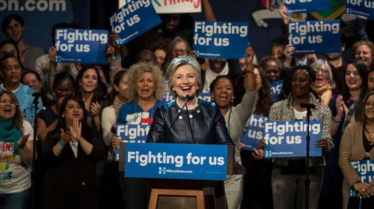 Democratic presidential candidate Hillary Clinton during a rally