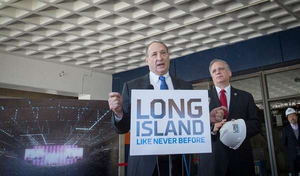 Nassau Coliseum developer Bruce Ratner, left, with County