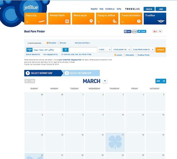Jetblue's flexible date search lists a full month
