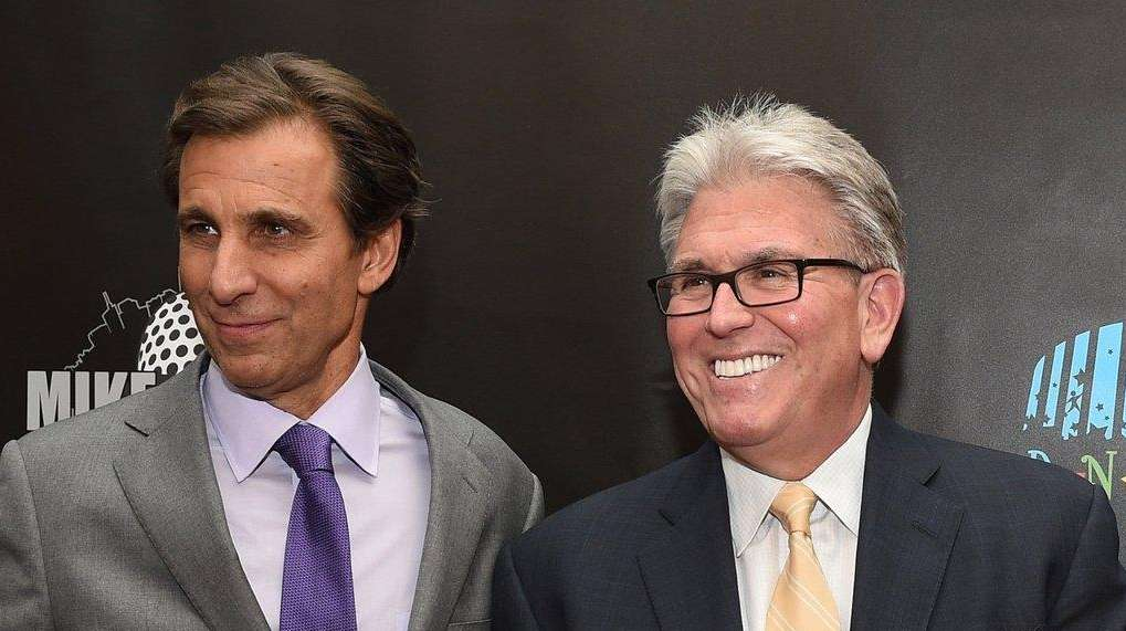 Chris Russo and Mike Francesa walk the red