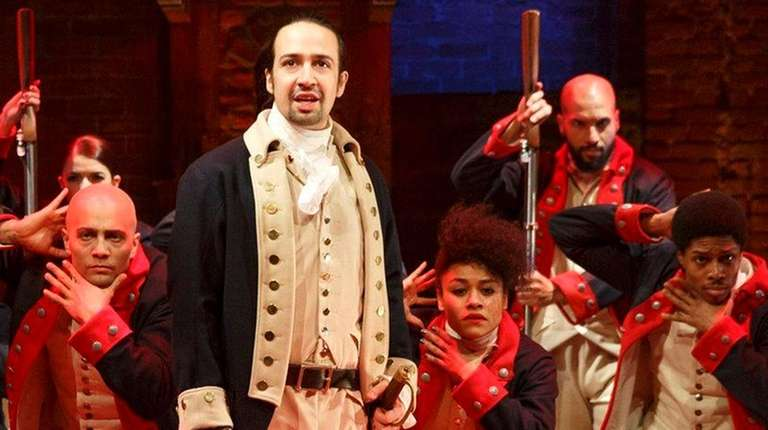 Lin-Manuel Miranda, foreground, with the cast during a
