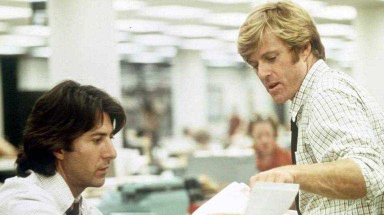 Dustin Hoffman, left, as Carl Bernstein, and Robert