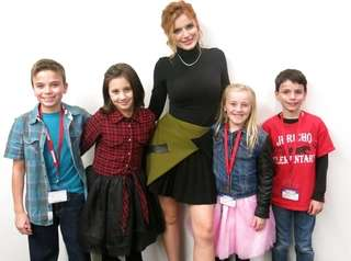 Actress Bella Thorne with Kidsday reporters from left,