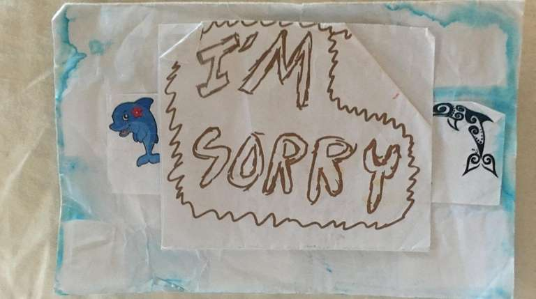 Connie Kamen's great-granddaughter made this apology card.