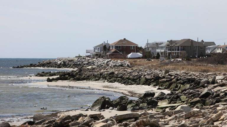 Waterfront homes are pictured in Point Lookout.