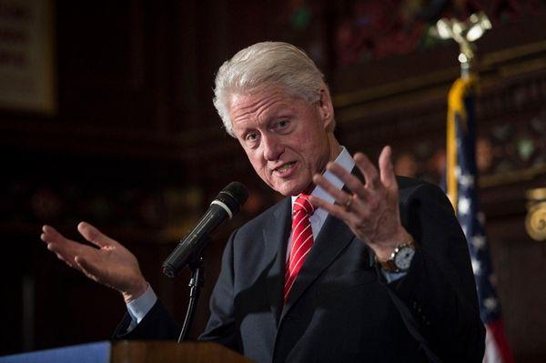 Former President Bill Clinton speaks to members of