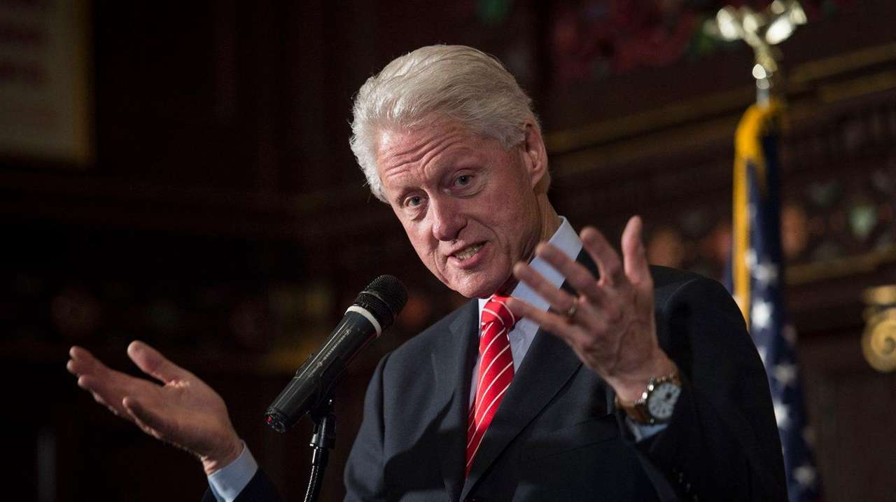Former President Bill Clinton speaks to members of