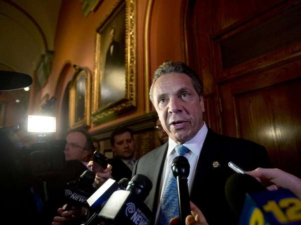 Gov. Andrew M. Cuomo talks to the media