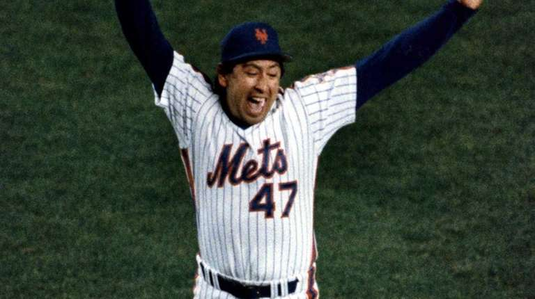 Mets reliever Jesse Orosco jumps for joy after