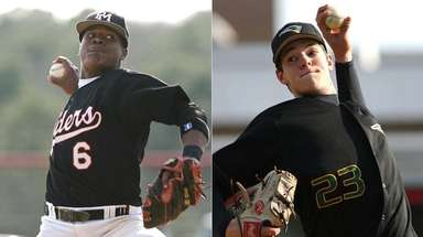 Future major-league pitchers Marcus Stroman, left, of Patchogue-Medford,