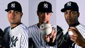 From left, Dellin Betances, Andrew Miller and Aroldis