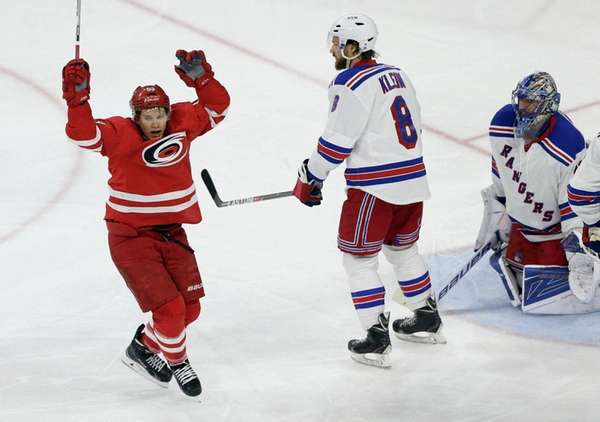 Carolina Hurricanes' Jeff Skinner celebrates his goal against