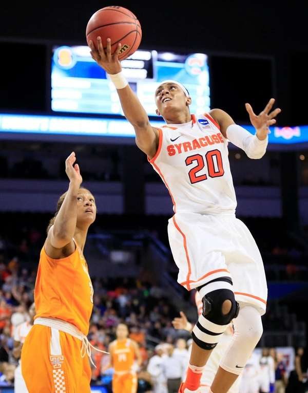 Syracuse guard Brittney Sykes drives to the basket