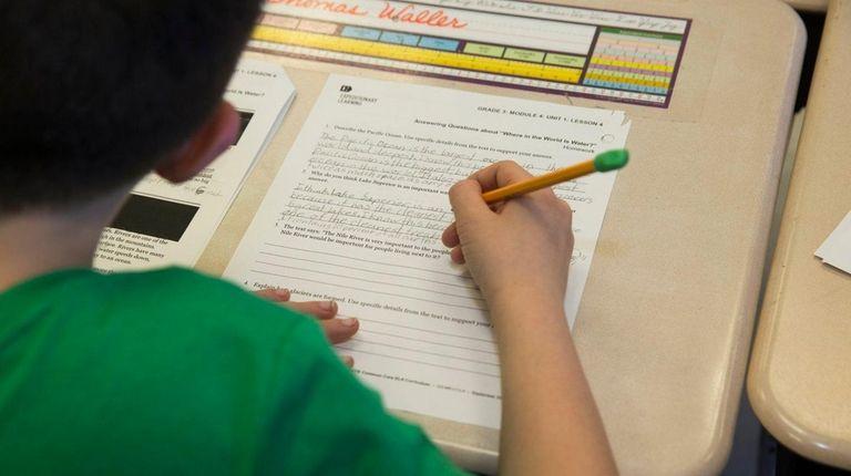A student in third-grade teacher Jennifer Holborow's class