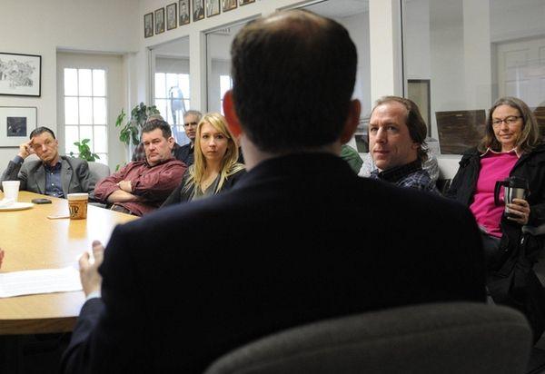 Congressman Lee Zeldin, talks to farmers about their