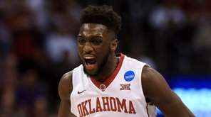 Khadeem Lattin of the Oklahoma Sooners celebrates in