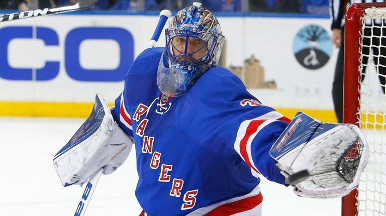 Henrik Lundqvist #30 of the New York Rangers