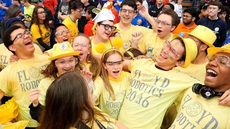 The William Floyd High School robotics team celebrates
