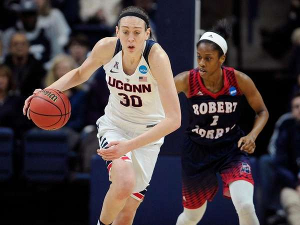 Connecticut's Breanna Stewart steals the ball from Robert