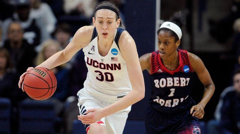 Connecticut's Breanna Stewart steals the ball from Robert