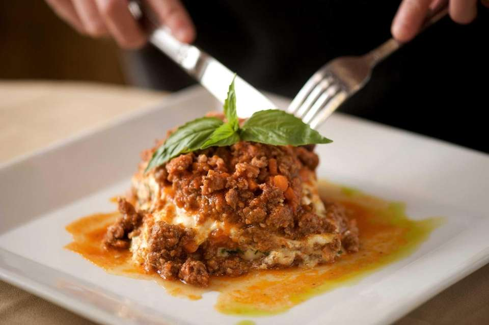 Lasagna Bolognese is served at Casa Rustica in