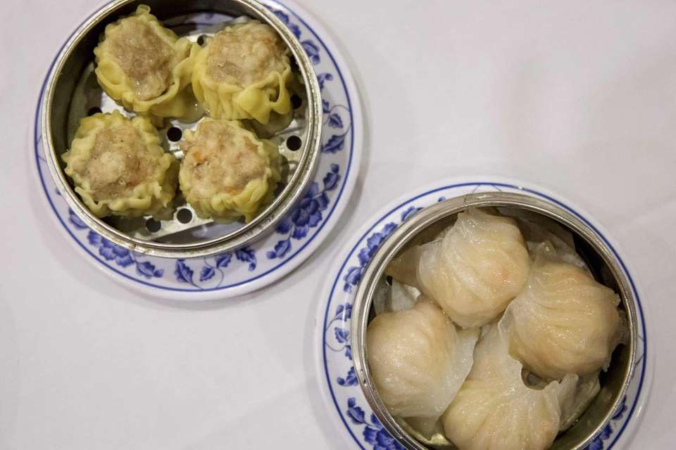 Shumai and steamed pork buns are served at