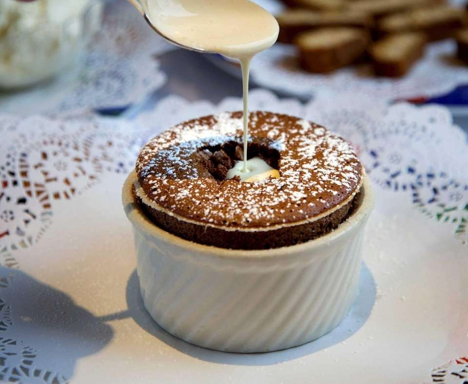 A chocolate soufflé is served at Stresa in