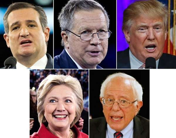 Presidential candidates, from left top row, Sen. Ted