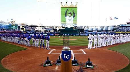 The World Series trophy is displayed as ahead