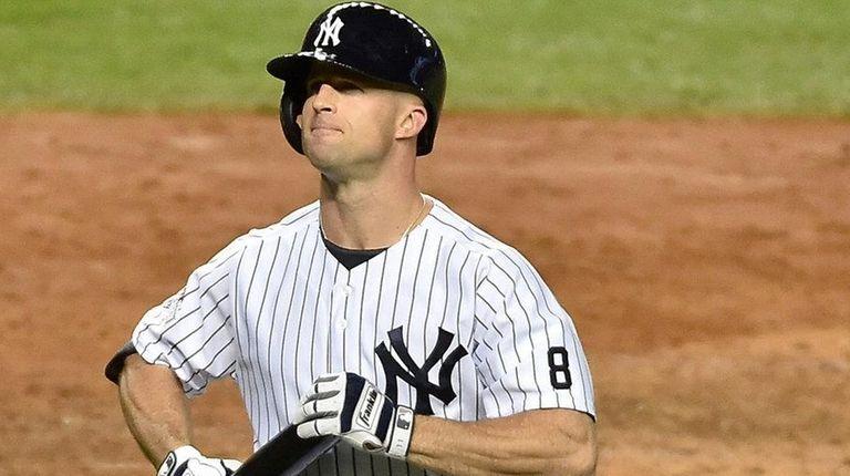 Yankees leftfielder Brett Gardner returns to the bench