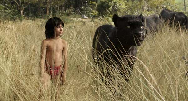 Mowgli (Neel Sethi) and Bagheera (voice of Ben