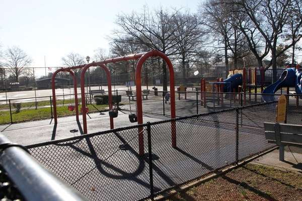 A playground at Uniondale Avenue Park on April