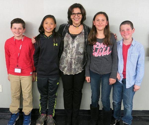 Author R.J. Palacio, center, met with Kidsday reporters,