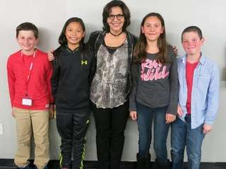 Author R.J. Palacio, center, met with Kidsday reporters,