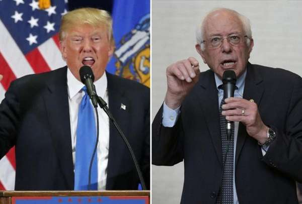 Presidential candidates Donald Trump, left, and Bernie Sanders