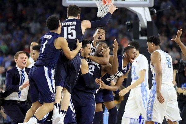The Villanova Wildcats celebrate defeating the North Carolina