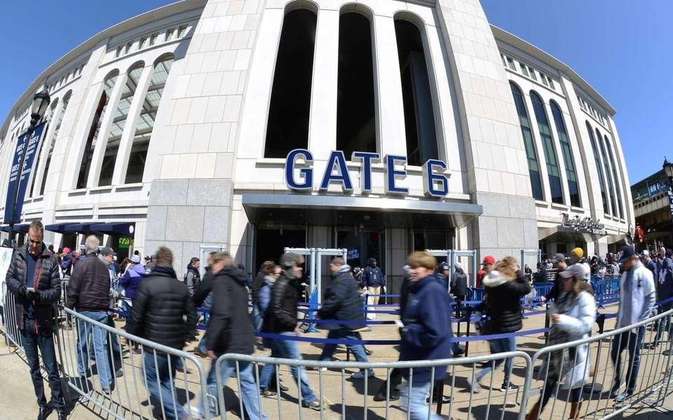 New York Yankee fans arrive on Opening Day