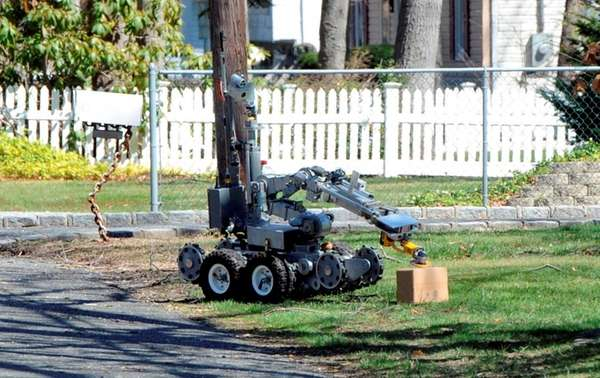 Suffolk County police dispatched a robot to check