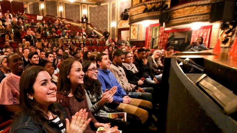 Students from Bay Shore High School listen as