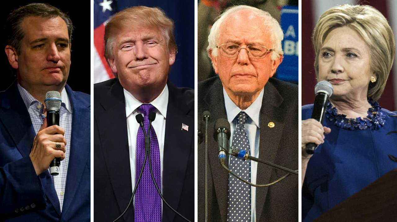Ted Cruz, Donald Trump, Bernie Sanders and Hillary