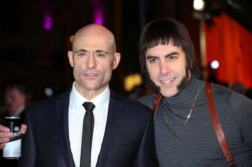 Actors Mark Strong, left, and Sacha Baron Cohen,