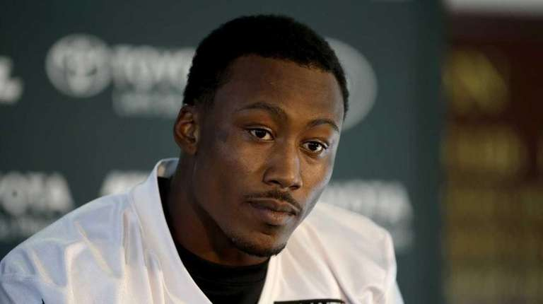 Wide receiver Brandon Marshall speaks to the press