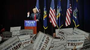 Donald Trump rallies his supporters on Long Island