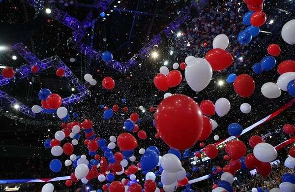 Balloons drop after Republican presidential candidate Mitt Romney