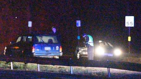 Suffolk County police investigate an accident in which